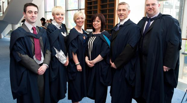 Ryan McKee, Joanne McMullan, Louise McQuillan, Jacqueline Quinn, Boyd Cathcart and Barry Magee. Studied Nursing. Picture: Elaine Hill