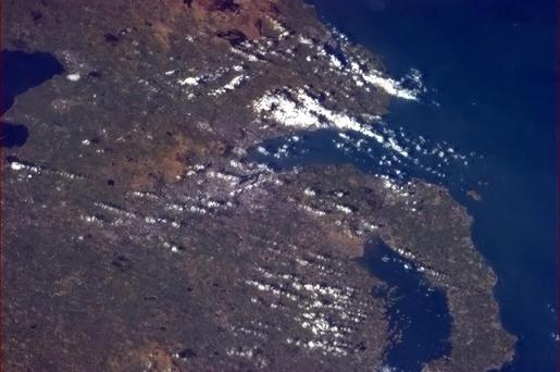 Commander Chris Hadfield's final picture of Belfast from the International Space Station.