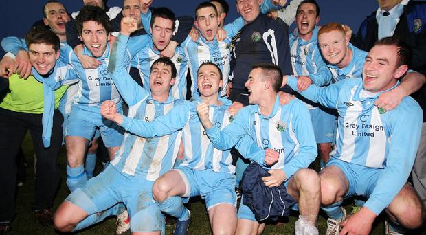 Northern Ireland- 10th May 2013 Mandatory Credit - Photo-Jonathan Porter/Presseye. Irish league premier play off match - Donegal Celtic Vs Warrenpoint Town in Belfast. Warrenpoint celebrate after they get promoted to the Irish Premiership.