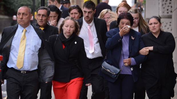 Family and friends of murdered school girl Tia Sharp leaves the Old Bailey in London after Stuart Hazell was sentenced to 38 years for her murder