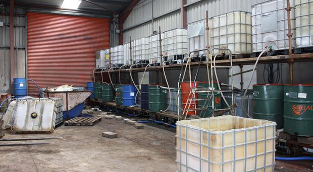 The illegal fuel plant was discovered after searches in the Mountfield area of Omagh on Tuesday