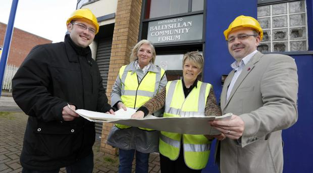 Dale Harrison from Ballysillan Community Forum joins local councillors Gareth McKee, Lydia Patterson and Lee Reynolds to celebrate the news that Belfast City Council is to supply £44,000 towards refurbishment works at the centre as part of its Local Investment Fund