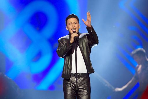 Ryan Dolan of Ireland performs on stage during the grand final of the Eurovision Song Contest 2013 at Malmo Arena on May 18, 2013 in Malmo, Sweden. (Photo by Ragnar Singsaas/Getty Images)