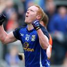 Cavan's Cian Mackey celebrates scoring the first goal of the game