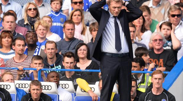 LONDON, ENGLAND - MAY 19: David Moyes manager of Everton reacts during the Barclays Premier League match between Chelsea and Everton at Stamford Bridge on May 19, 2013 in London, England. (Photo by Mike Hewitt/Getty Images)