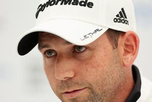 VIRGINIA WATER, ENGLAND - MAY 22: Sergio Garcia of Spain attends a press conference during the Pro-Am round prior to the BMW PGA Championship on the West Course at Wentworth on May 22, 2013 in Virginia Water, England. (Photo by Warren Little/Getty Images)