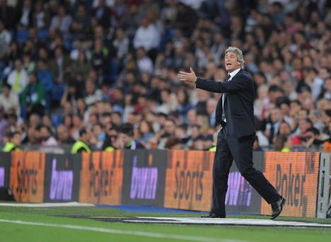 MADRID, SPAIN - MAY 08: Malaga CF head coach Manuel Pellegrini reacts during the La Liga match between Real Madrid CF and Malaga CF at estadio Santiago Bernabeu on May 8, 2013 in Madrid, Spain. (Photo by Denis Doyle/Getty Images)