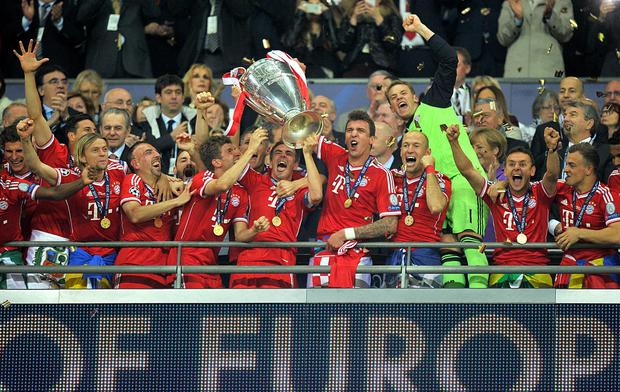 Nobody's expecting celebrations like this, but Irish League clubs' European preparations leave a lot to be desired. Bayern Munich players celebrate as they lift the UEFA Champions League trophy.