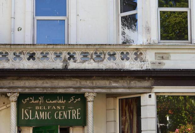 The Belfast Islamic Centre in the south of the city was targeted in a paint bomb attack