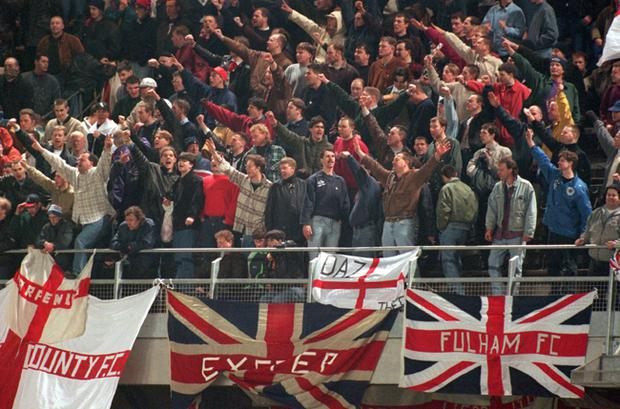 15 FEB 1995: England fans, many displaying the Nazi salute, on the terraces at Lansdowne Road during the violence that saw the Republic of Ireland v England friendly abandoned