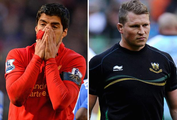 Luis Suarez, left, and Dylan Hartley, right, have both fallen foul of authority