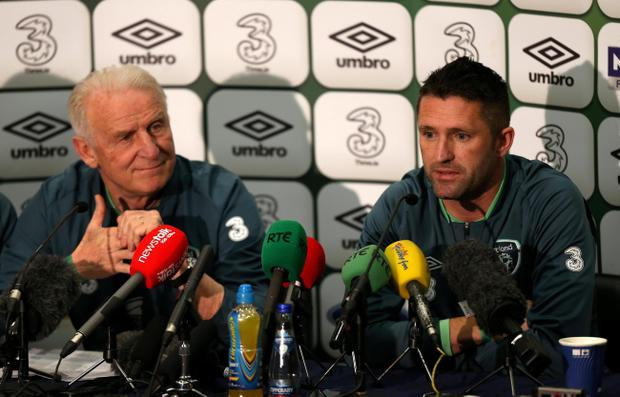 Republic of Ireland's coach Giovanni Trapattoni and Robbie Keane (right) during a press conference at Wembley Stadium, London