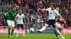LONDON, ENGLAND - MAY 29: Frank Lampard of England scores his team's first goal to make the score 1-1 during the International Friendly match between England and the Republic of Ireland at Wembley Stadium on May 29, 2013 in London, England. (Photo by Scott Heavey/Getty Images)