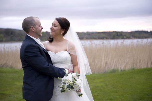 Laura and John Houston from Lisburn on their wedding day at Lough Erne