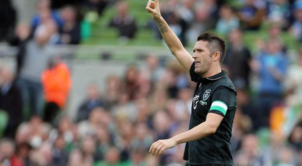 Ireland's Robbie Keane celebrates his goal against Georgia during the International Friendly at the Aviva Stadium, Dublin. PRESS ASSOCIATION Photo. Picture date: Sunday June 2, 2013. See PA story SOCCER Republic. Photo credit should read: Niall Carson/PA Wire