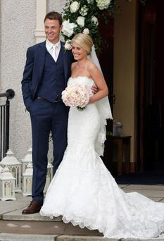 Manchester United footballer Jonny Evans and Helen McConnell after their wedding at Clough Presbyterian Church, County Down. PRESS ASSOCIATION Photo. Picture date: Saturday June 1, 2013. See PA story SOCIAL Evans. Photo credit should read: Paul Faith/PA Wire