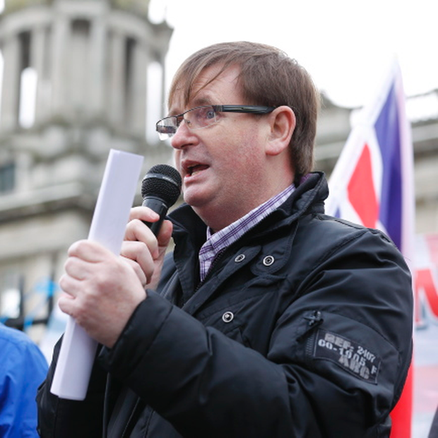 Willie Frazer at a Loyalists flag protest at Belfast City Hall in February. Picture by Kelvin Boyes / Press Eye.