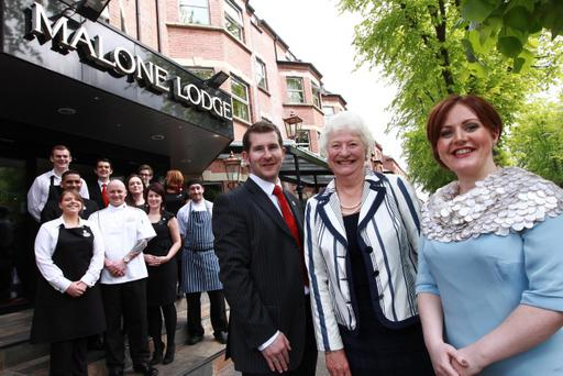 Directors of the Malone Lodge Hotel, Gareth and Cara Macklin are pictured with Dame Mary Peters DBE LL as the south Belfast hotel reached completion on its 12 month renovation and extension programme. Twenty new full and part-time jobs have been created within the 119 room complex, in Eglantine Avenue. Picture by Phil Smyth