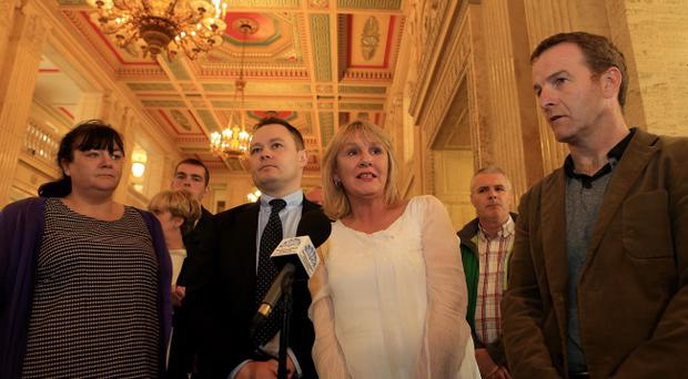 Irene Connolly from Ballymurphy, John Loughran, New Lodge Six Campaign, Patricia Murphy whose mother Kathleen Thompson was killed 1971, JJ Magee from Relatives for Justice pictured in Stormont. Photo-William Cherry/Presseye