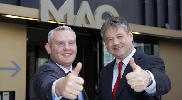 NI21 Leader Basil McCrea MLA and Deputy Leader John McCallister MLA at the launch of the political party