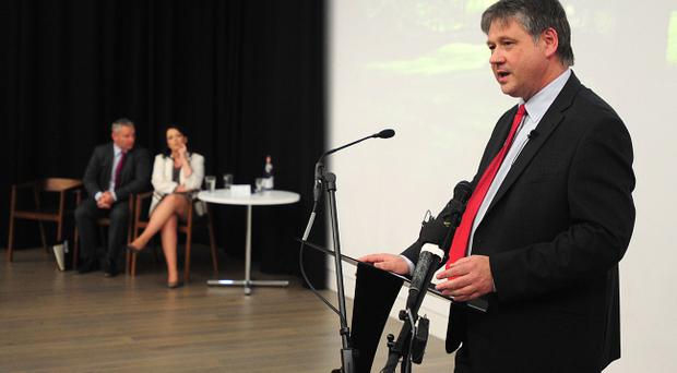 NI21 leader Basil McCrea speaks during the launch of his new party