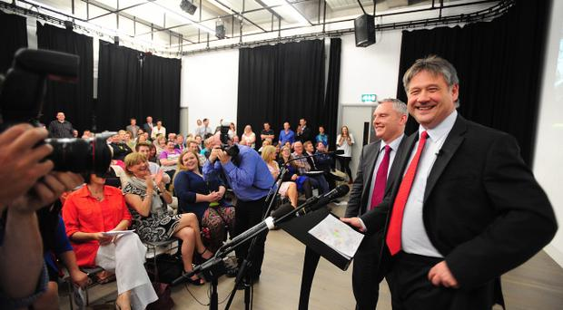 Basil McCrea (right) and John McAllister at NI21's launch at the Metropolitan Arts Centre in Belfast