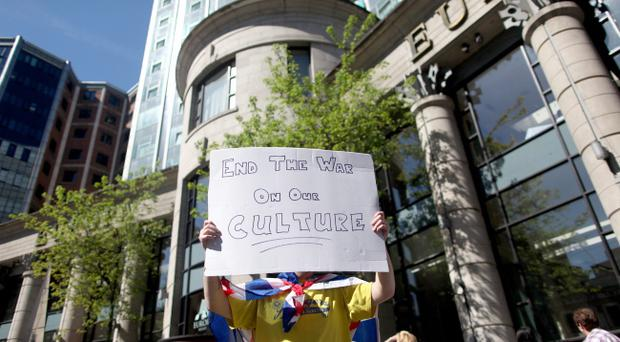 Protesters outside the Sinn Fein-organised conference entitled Belfast: A City of Equals in an Island of Equals at the Europa Hotel in Belfast City centre on Friday. Picture by David Fitzgerald.