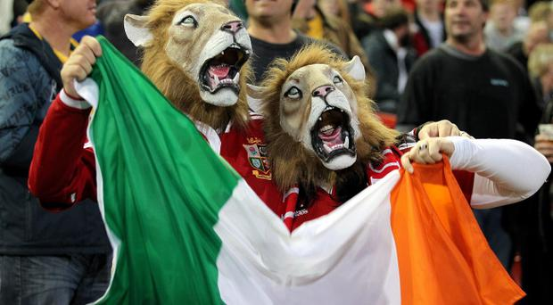 British and Irish Lions fans show their support in the stands before the British and Irish Lions Tour match at the Hunter Stadium, Newcastle, Australia