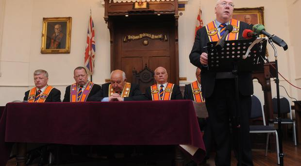 Speaker Mervyn Gibson with L-R Stephen McAllister , Grand Master George Chittick, Billy Mawhinney and Mervyn Bishop at a media briefing at Clifton Street Orange Hall in Belfast ahead of the marching season Pic: Colm Lenaghan/Pacemaker