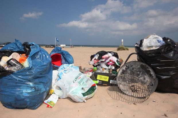 Rubbish dumped on Portstewart Strand by thoughtless visitors