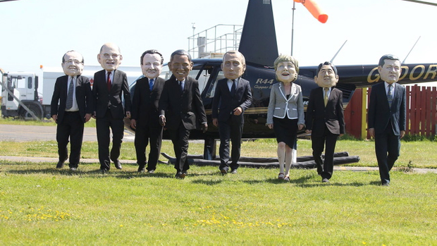 Oxfam's 'Big Head' G8 leaders arrive in Northern Ireland ahead of next week's summit in Enniskillen