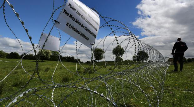 Razor wire which has been laid in fields near the Lough Erne resort in County Fermanagh the venue for next weeks G8 Summit