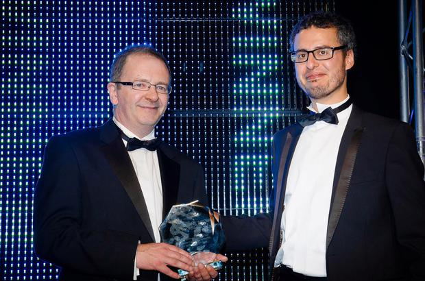 Belfast Telegraph Online Editor Jerome Crolly accepts the award for Best Regional News Website at the Emirates Stadium