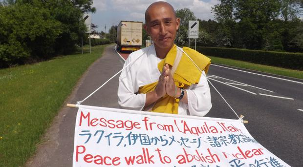 Toyoshige Sekiguchi, the anti-capitalist Buddhist monk who has walked from Belfast to Enniskillen to bring his campaign for nuclear disarmament to the G8 leaders