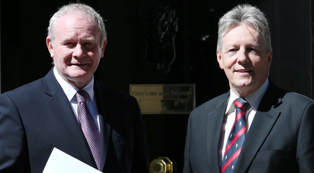 LONDON, ENGLAND - JUNE 14: Northern Ireland's Deputy First Minister Martin McGuinnes (L) stands with First Minister Peter Robinson on the steps of Downing Street on June 14, 2013 in London, England. Prime Minister David Cameron held talks today with the ministers ahead on the G8 meeting in Northern Ireland next week. (Photo by Peter Macdiarmid/Getty Images)