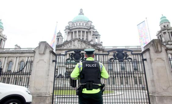 14.06.13. PICTURE BY DAVID FITZGERALD Police presence outside the Belfast City Hall ahead of the G8 Summit yesterday.