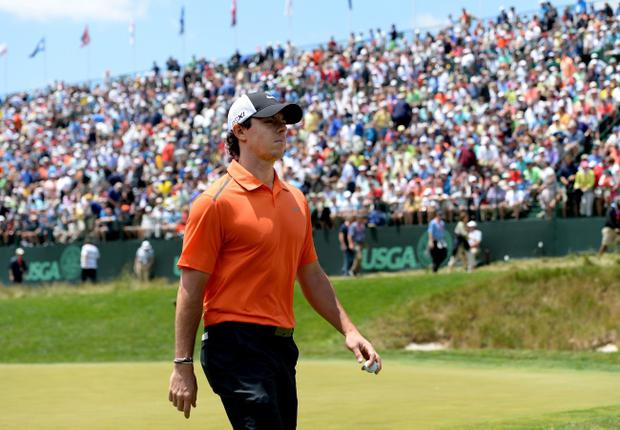 ARDMORE, PA - JUNE 14: Rory McIlroy of Northern Ireland walks off the 17th hole during Round Two of the 113th U.S. Open at Merion Golf Club on June 14, 2013 in Ardmore, Pennsylvania. (Photo by Ross Kinnaird/Getty Images)
