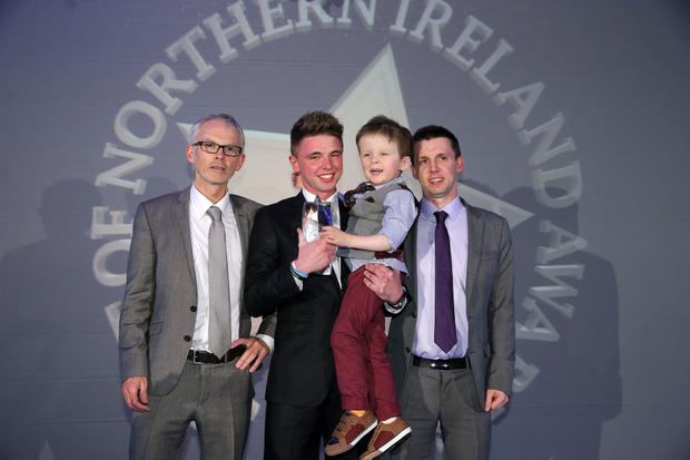 Press Eye - Belfast - Northern Ireland - Saturday 14th June 2013 - Picture by Kelvin Boyes / Press Eye. Overall Spirit of NI Winner Wee Oscar Knox Presented by, Martin Breen, Tony McGinn and Britains Got Talent Finalist Jordan O'Keefe