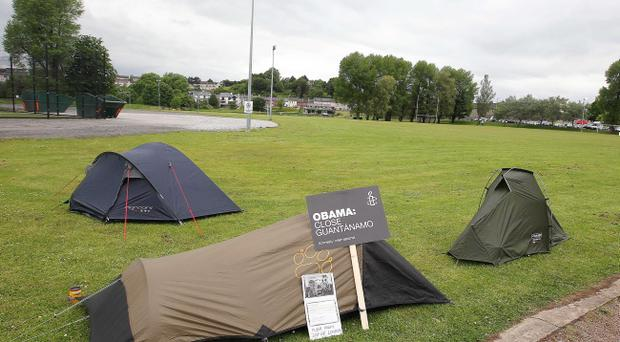 Anti G8 protesters set up camp in Enniskillen town centre. Photo-Jonathan Porter/Presseye.