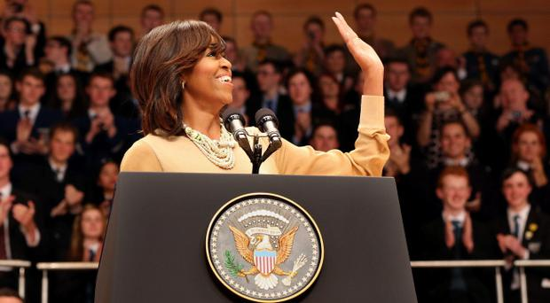 Michelle Obama, the wife of the US President Barack Obama, speaks at Waterfront Hall in Belfast, ahead of the G8 summit