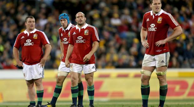 British and Irish Lions' (left-right) Matt Stevens, Justin Tipuric, Rory Best and Ian Evans stand dejected during the International tour match at the Canberra Stadium