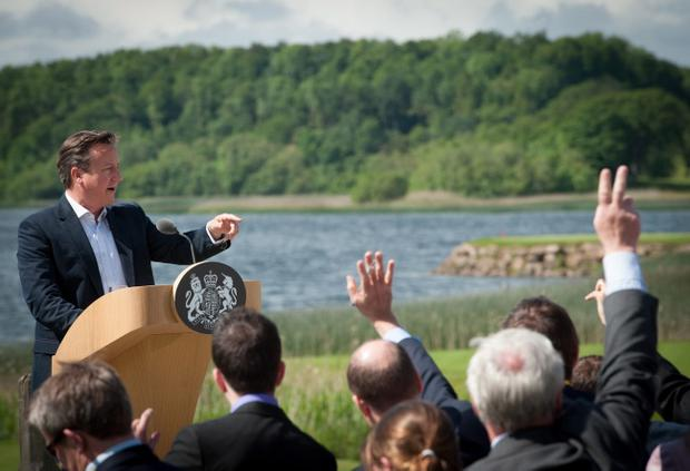ENNISKILLEN, NORTHERN IRELAND - JUNE 18: Britain's Prime Minister David Cameron, answers questions from the media at a concluding press conference at the G8 venue of Lough Erne on June 18, 2013 in Enniskillen, Northern Ireland. The two day G8 summit, hosted by UK Prime Minister David Cameron, is being held in Northern Ireland for the first time. Leaders from the G8 nations have gathered to discuss numerous topics with the situation in Syria expected to dominate the talks. (Photo by Stefan Rousseau - WPA Pool /Getty Images)