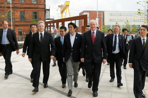Japanese Prime Minister Shinzo Abe during his visit to Titanic Belfast with First Minister Peter Robinson and deputy First Minister Martin McGuinness. Photo by Kelvin Boyes/Press Eye/PA