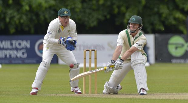Australian wicket-keeper, Brad Haddin, watching Ireland's Andrew White play a sweep shot at Stormont, has praised the state of the game in this part of the world