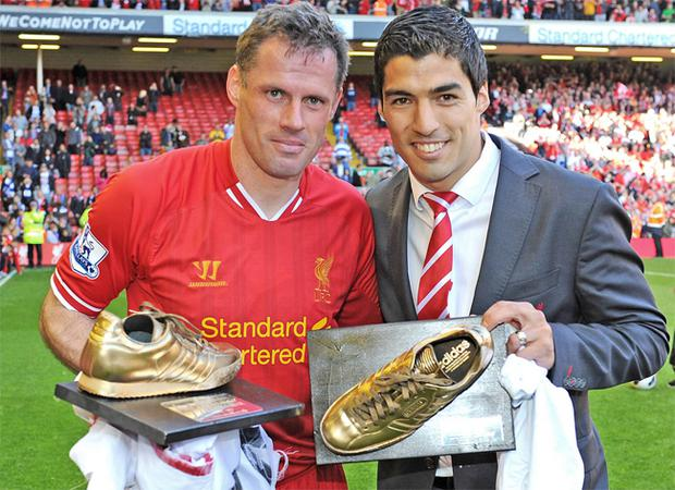 Jamie Carragher with Luis Suarez at the end of last season