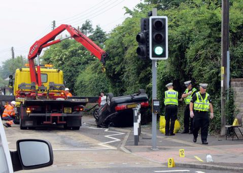 A general view of the scene of a crash near Rhoose Primary School in the Vale of Glamorgan. Antony Stone/PA Wire