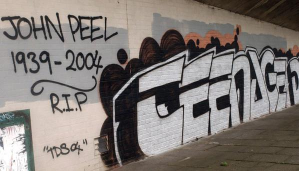 Grafitti in east Belfast remembering the late Radio 1 presenter John Peel. Pic Arthur Allison