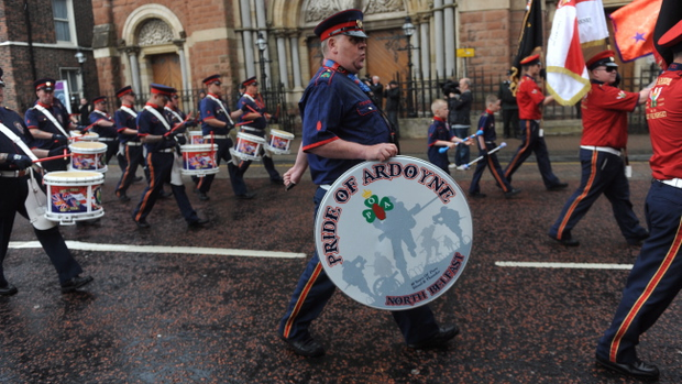 The Tour of the North Parade passes St Patrick's Church on Donegall Street in Belfast