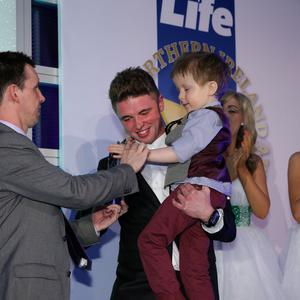 Sunday Life Spirit of Northern Ireland Awards. Overall winner Wee Oscar Knox presented by Martin Breen and Britain's Got Talent Finalist Jordan O'Keefe