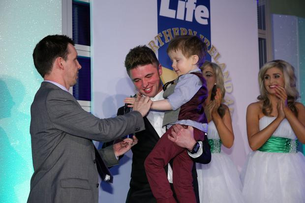 Press Eye - Belfast - Northern Ireland - Saturday 14th June 2013 - Sunday Life Spirit of Northern Ireland Awards. Overall Spirit of NI Winner Wee Oscar Knox Presented by, Martin Breen and Britain's Got Talent Finalist Jordan O'Keefe